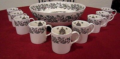 JOHNSON BROTHERS MERRY CHRISTMAS PUNCH BOWL SET w/ 9 CUPS MUGS