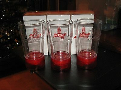 Budweiser Goal Synced Red Light Glass Limited Edition Set of 3 RARE Canada only