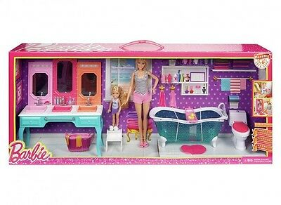Barbie and Chelsea Dolls and Vanity Bathroom Giftset