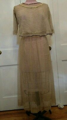 Antique VTG BEADED OLD FRENCH METALLIC NET LACE VICTORIAN? WEDDING STYLE dress