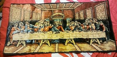 """Vintage Tapestry ~ THE LORD'S LAST SUPPER 38"""" x 19""""  Made in Italy"""