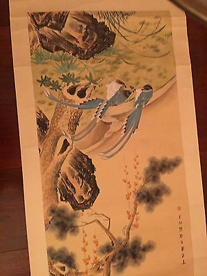 Chinese Hanging Scrool Painting Of Flowers And Bird Signed