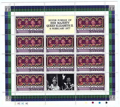 St Vincent - 1977  Silver Jubilee - 1c Mini sheet of 10 stamps Unmounted Mint