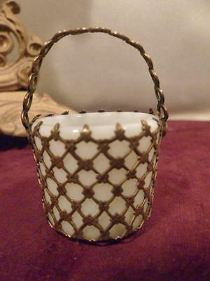 ANTIQUE FRENCH 1800's OPALINE GILT METAL BRASS BASKET BUCKET TRINKET WHITE RARE