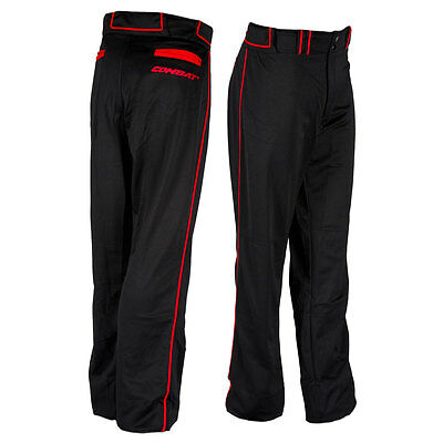 Combat Stock Adult Baseball/Softball Pant with Piping - Black/Red - XL