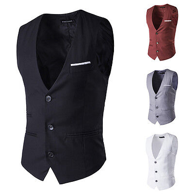 Uomo Posh Elegante Business Slim Fit Abito Con Catena Canottiera Completo
