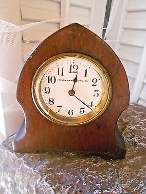 antique Henry Birks & Sons all WOODEN  clock  WIND UP MUSHROOM / beehive gothic