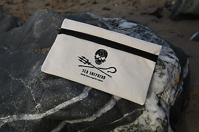 Sea Shepherd   Organic Cotton Pencil Case and pen , Jolly Roger, Pirate,