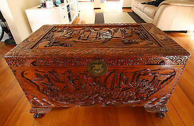 Antique Vintage Chinese Carved Camphorwood Chest with Tray Circa 1970'S