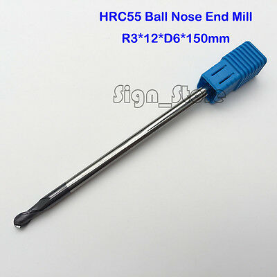 6mm CNC End Mill HRC55 Milling Cutter ball nose Two Flute R3 Longer Length 150mm