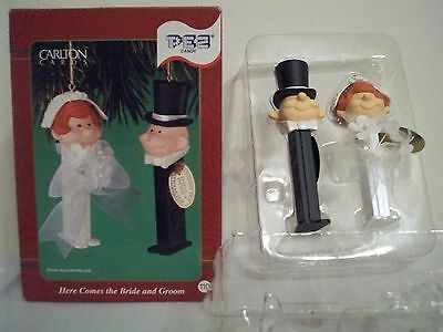 Carlton Cards Pez Candy Dispenser Here comes the Bride & Groom Ornament