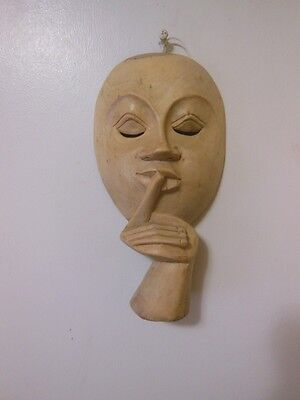 Woman Silent Mask Tehatric Dramatic Handmade Wood Carved Wall Art Home Decor