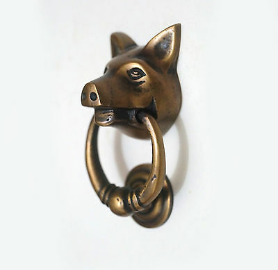 "2.95"" VINTAGE PIG Farm Head  Solid Brass Knob Antique Cabinet Drawer Handle Pull"
