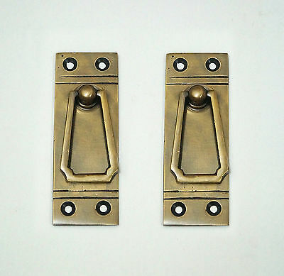 "3.38"" 2 pcs Vintage Retro Western Country Solid Brass Atg Drawer Handle Pulls"
