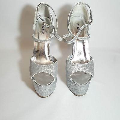"""Silver Peep Toe Stiletto 6"""" High Heel Wedding Party Prom Occasions Shoes UK 5/38"""