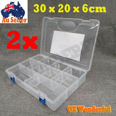 2pcs Sewing Casket Clear Plastic Storage Container Organizer Box Bins Assorted