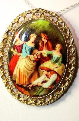 "Beautiful  Vintage Gold-Tone Faux Painting Victorian Style Pin Brooch 2"" – 7101"