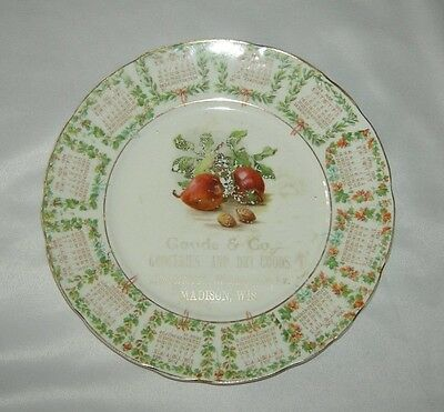 Vintage 1909 Calendar Plate Goude & Co Groceries Madison WI