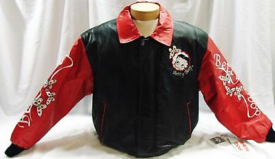 Betty Boop Leather Jacket Red Black New Tags Butterflies Embroidery XL Vintage