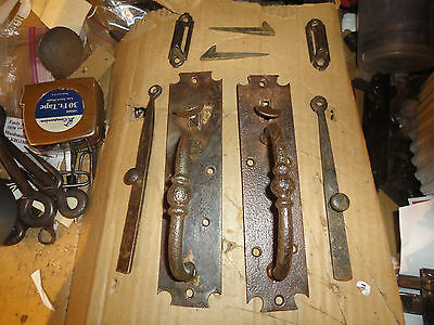 2 similar large wrought/cast iron antique Norfolk thumb latches with parts -