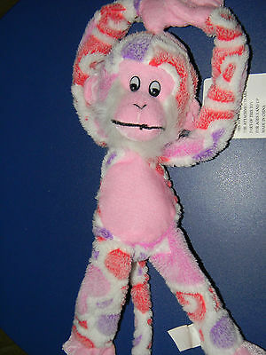 """Monkey stuffed animal 13"""" tall velcro hands stick together for hanging up"""