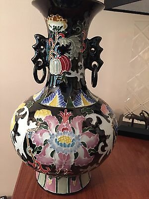 "12"" Large Antique Chinese Famille Noir Porcelain Vase Character Marked Bottom"