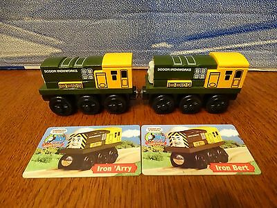Thomas Tank Engine Authentic Wooden Iron Bert & Iron 'Arry w/ Character Card