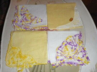 VINTAGE* LOT of 4 ~ LAVENDER & YELLOW * CROCHET/  EMBROIDERED BUTTERFLY'S 1 NWT