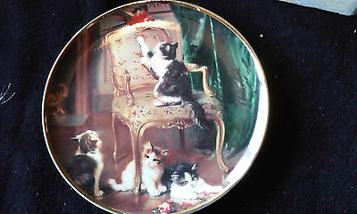 Franklin mint collectable plate kitten mischief with certificate.