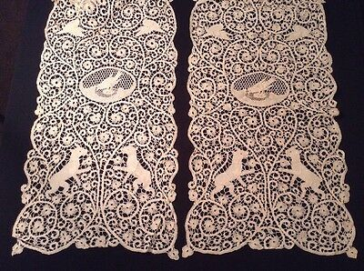 "Pair Antique 96"" Handmade Cantu Lace Runners Dogs Birds"