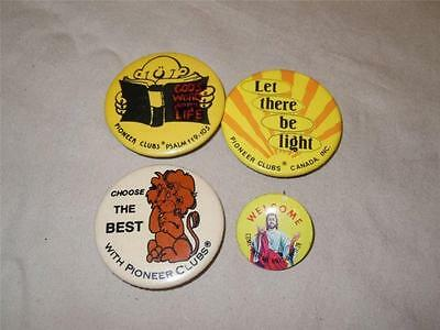 """Pioneers Clubs Canada Religious 3 Vintage Lot 2"""" Pinback Buttons + Welcome Jesus"""