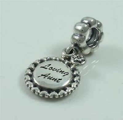 New Genuine Authentic Pandora Sterling Silver Loving Aunt Dangle Charm 791277CZ