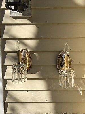 Pair Vintage Nickel Over Brass And Crystal  Wall Sconces