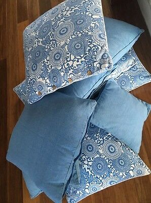 8 X Large Blue And White Cushions - Great Condition