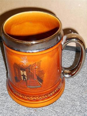 """Vintage Lord Nelson Pottery Stein Cup Mug What's Yours? Silent Night 6"""" Caramel"""
