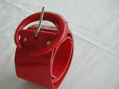 """Neat Looking Genuine Vintage Wide Red Shiny Plastic Belt 30"""" Size 8"""