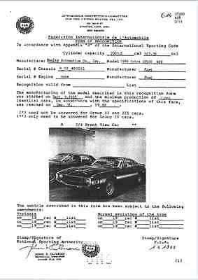 Shelby Cobra GT500 FIA Homologation Papers Homologation Form Homologationsblatt