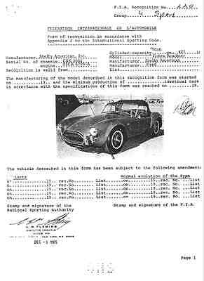 Shelby Cobra 427 FIA Homologation Papers Homologation Form Homologationsblatt