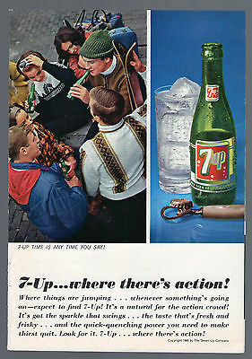 1965 Soda Pop Ad ~ 7-Up...where there's action ! ~ Bottle with Opener