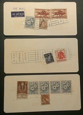 AIRMAIL 1964 PARCEL TAGS CATTLE FLOWERS 1d-5/- (3)