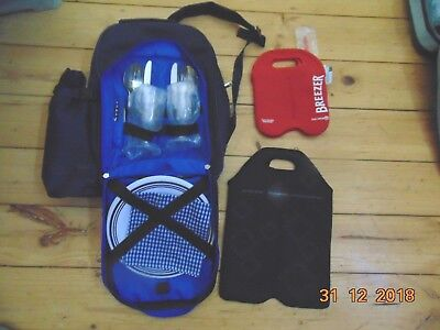 3 Picnic Bag Back Pack Wine Cooler Carrier Plates Knives Forks Glases New