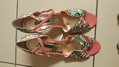 MARC JACOBS BNWOT Leather/Satin heels sz` 10 41 pink rainbow multicolour sandals