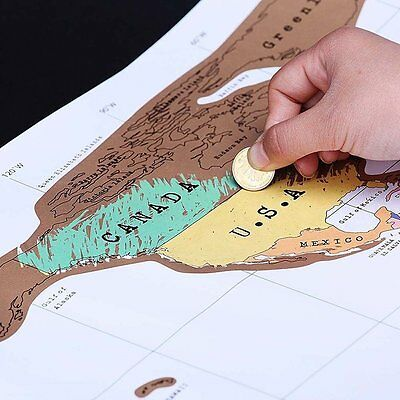 Deluxe Travel Scratch Off World Map Poster Personalized Journal Log Gift New E5