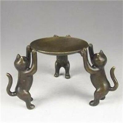 Chinese Bronze Plate w Cats