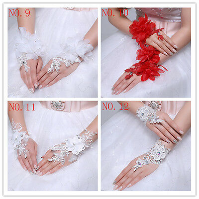 Prom Wedding Birthday bridesmaid girls' party Dress gloves mittens red mitts