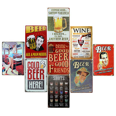 Retro Metal Sign Tin Poster  Pub Bar Club Cafe Home Plate Wall Decor Paint  LE