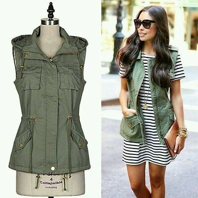 Olive cargo vest army green boutique Small