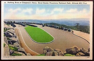 1940's Postcard Parking Clingman'sDome Great Smoky Mountains North Carolina