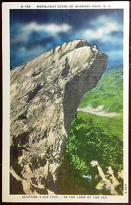 1940's Postcard Moonlight Scene Of Blowing Rock North Carolina