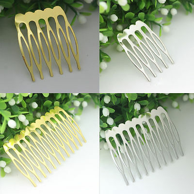 10Pcs Silver Gold Plated Metal Combs Clip Pin Hair Accessories